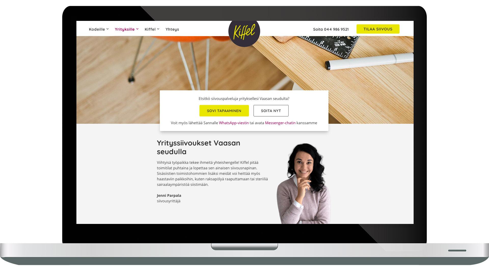 Kiffelin verkkosivusto tietokoneen näytöllä